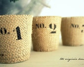 Numbered 1,2,3 Glass Votive Glass, Burlap, Industrial, Cottage, Tea Light, Candles