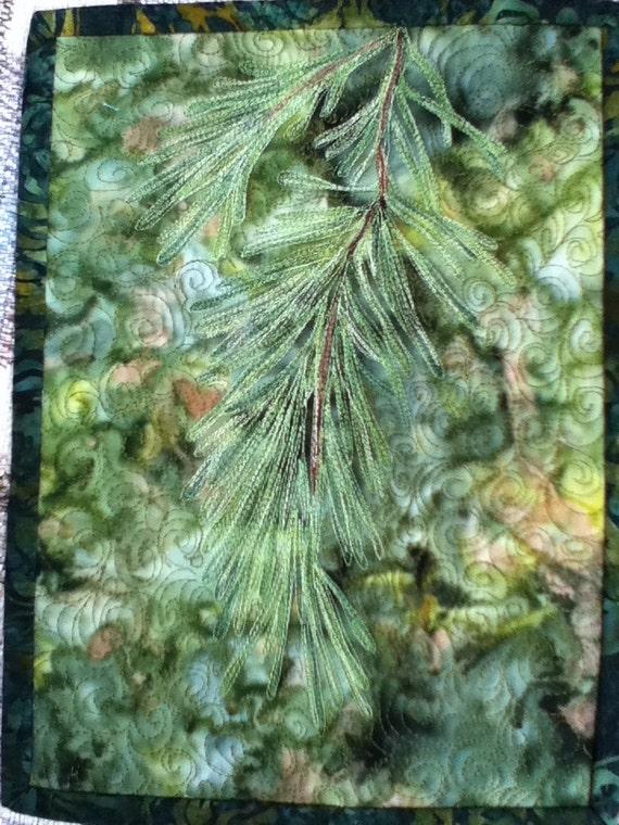 Thread sketch art quilt : pine bough