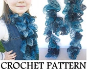 Ruffle Scarf PATTERN - INSTANT Download - How to Crochet a Lace Ruffle Scarf, using Sashay Yarn, PDF download link sent by email