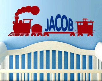 48in Wall Decal Train - Custom Name Decal for Nursery - Name Decal Custom Train Decor - Nursery Vinyl Wall Decal