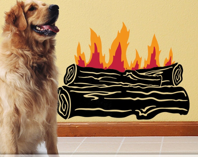 Campfire Wall Decal: Outdoor Log Fire for Camping Decor or Rustic Cabin Fireplace, Fall Decor