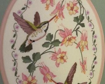 SALE Cross Stitch Hummingbirds Dimensions Kit columbines pink
