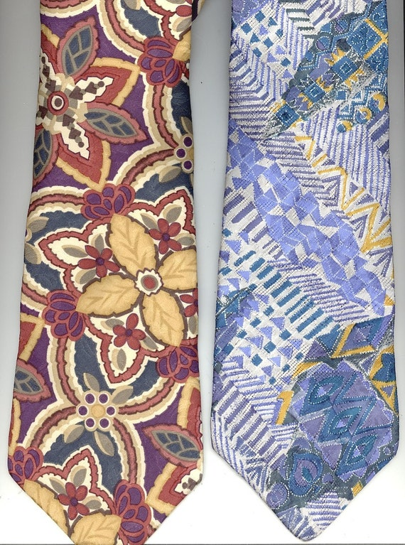 2 Elegant Liberty of London Ties neckties geometric blue and gold