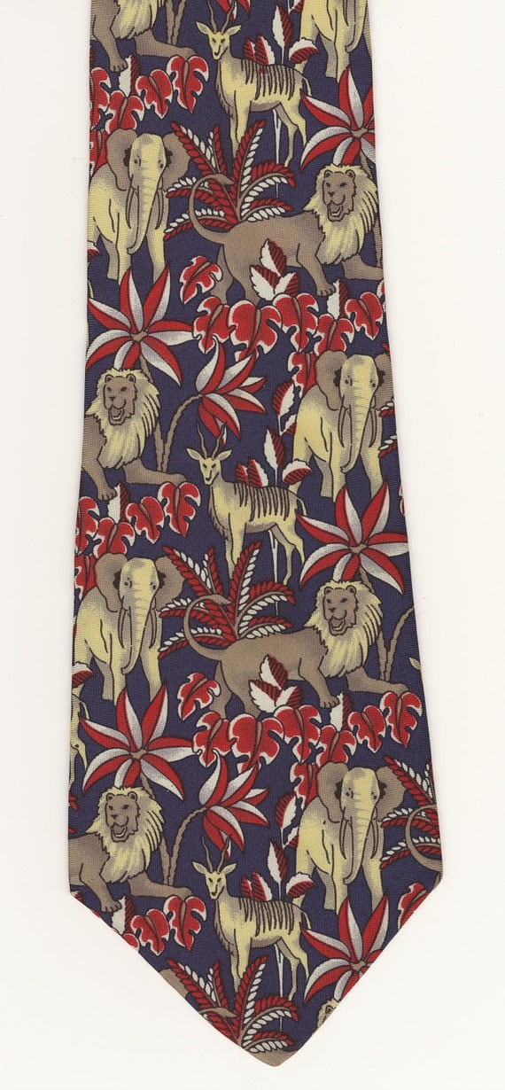 RESERVED for Em - Vintage Liberty Necktie tie Elephants and Lions navy blue red