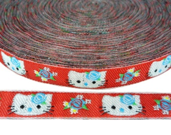 Glitter Kitty Ribbon Quilting Embroidery Clothing Fabric 4 Yards