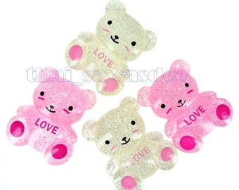 Bear Love Flatback Embellishments Craft Hair Bow Accessorry Applique Scrapbooking Supply 5 Pieces