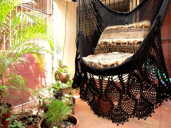 Black Sitting Hammock Hanging Chair Natural Cotton And Wood