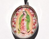 Our Lady of Guadalupe glass pendant