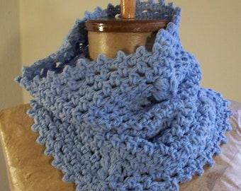 light blue cowl- crochet neckwarmer // 100 percent cotton