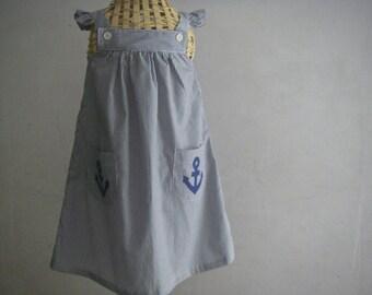 Handmade Blue Striped Dress with Anchor Applique