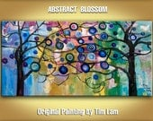 Surreal Blossom, Abstract Contemporary Huge Modern Thick Impasto Texture painting Tree art  48x24