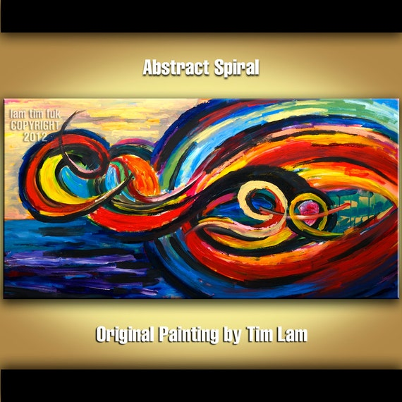 Colored Brushwork  Art, Abstract Painting Huge original acrylic painting Modern deco Textured landscape painting by tim lam 48x24