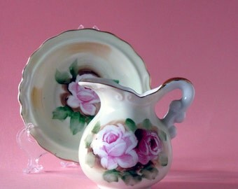 Light tan Lefton style small pitcher and bowl with light pink and pink handpainted roses with pretty green leaves