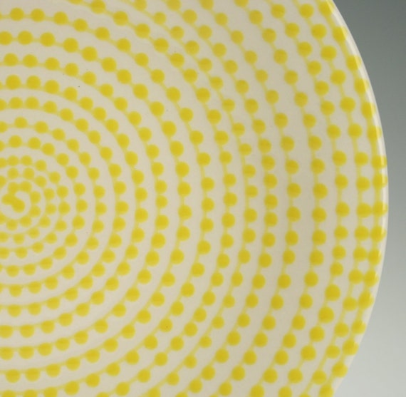 Lemon Yellow Vertigo Plate Hand Painted Spiral Dots Dinnerware