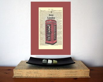 I love London Art Print on Antique 1896 Dictionary Book Page