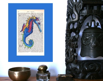 Seahorse Color Infusion Art Print on Antique 1896 Dictionary Book Page