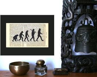 Evolution Large Art Print on Antique 1896 Dictionary Book Page