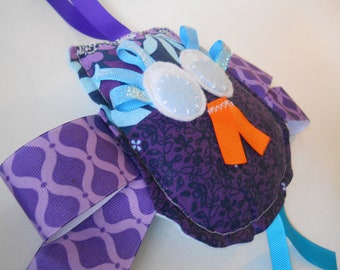 "Owl Softie Sensory Toy -Ribbon Tag  Puffers -  Baby Shower Gift - ""Miss Eyelash Owl in Purple""  plush  educational toy lovey with minky dot"