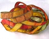 Hand Dyed Silk Ribbons Hand Painted Silk Art  - Jewelry Bracelet Wrist Wrap - Autumn Valley - Quintessence Silk Art by Shauna Blake