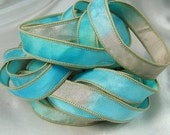 Hand Dyed Silk Ribbons - Silk Jewelry Ribbon Bracelet Wrist Wrap - Quintessence - Sea Glass