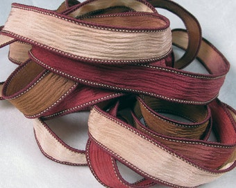 Hand Dyed Silk Ribbons - Crinkle Silk Jewelry Bracelet Fairy Ribbon - Quintessence - Deep red, brown tan - Sedona