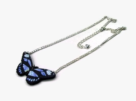 Butterfly Necklace Blue Wooden - FLUTTERBY SPECIMEN 3 - silver plated chain