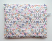 SALE ipad case - geometric - large zipper pouch - padded - triangle pattern - hand made SALE