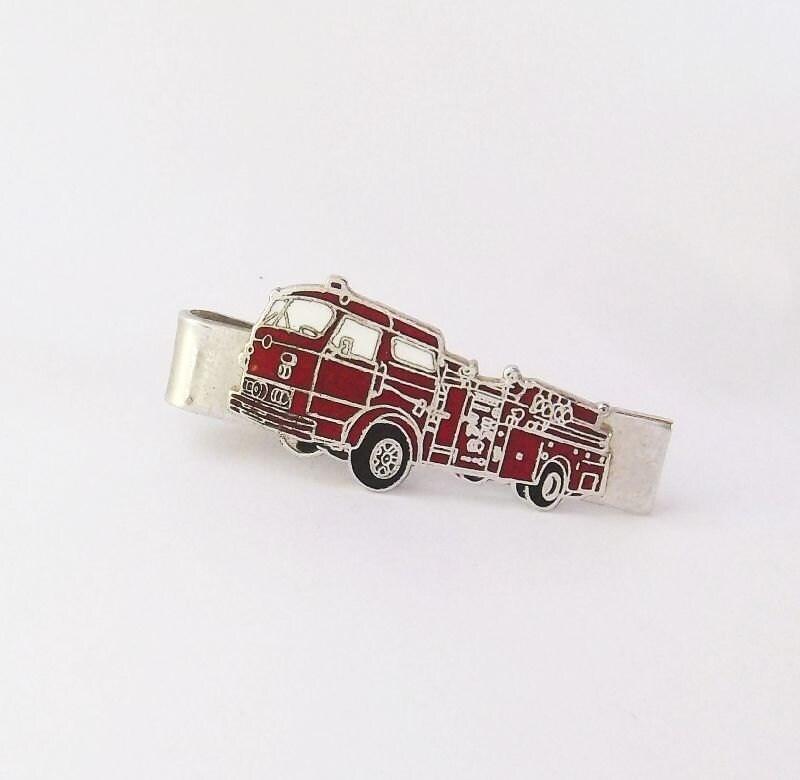 firefighters truck silver tone tie clip hook fast prov
