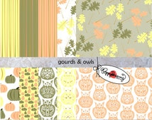 Gourds & Owls: Digital Scrapbook Paper Pack (300 dpi) Ten  digital papers ACEO Collage Art Mixed Media