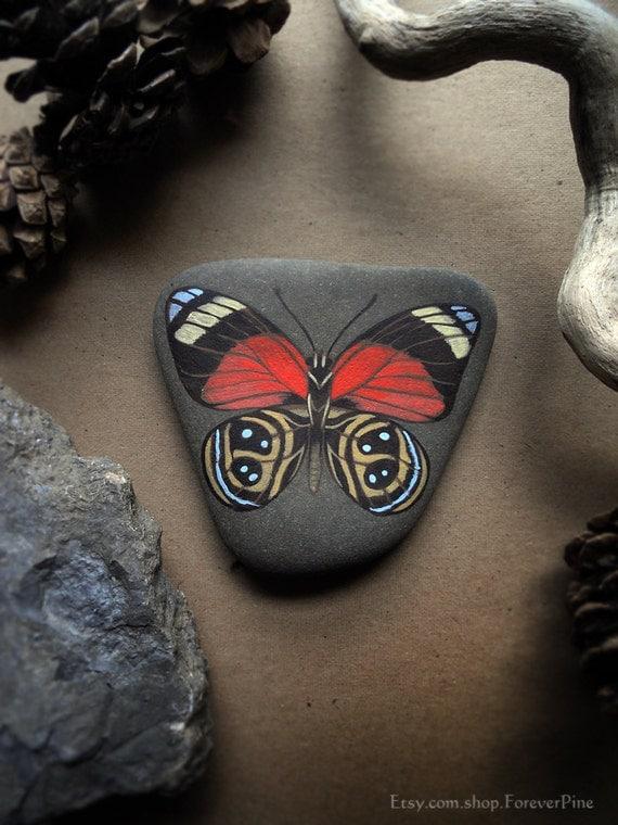 OOAK Painted Figure-of-Eight Butterfly - Seneca Lake Stone