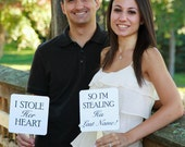 Set of Save the Date Engagement Picture Signs - I Stole Her Heart So I'm Stealing His Last Name Engagement Photo Props Bridal Photo Booth
