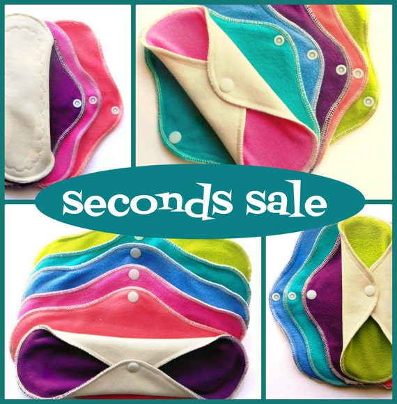 cloth menstrual pads ....SECONDS SALE bamboo & organic cotton.. heavy flow set of six