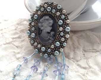 Upcycled Blue Cameo Brooch with Feather and Sky Blue Beading