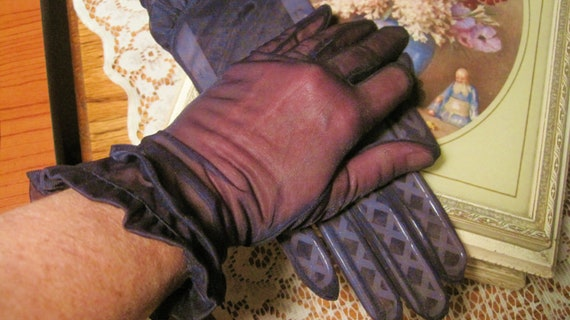 Just Listed Sexy Gorgeous Early 40s Sheer Navy Blue Ruffled Gloves