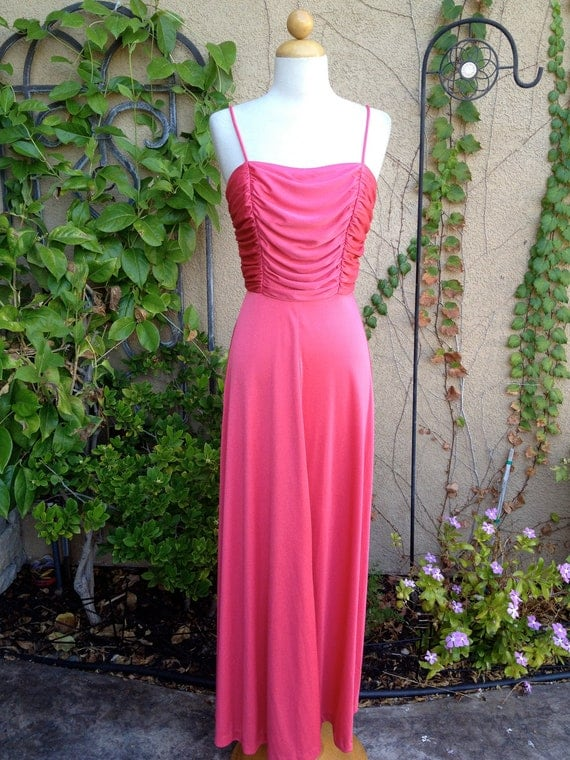A vintage 1960s 1970s pink spaghetti straps draped gathered formal cocktail maxi dress size XS S