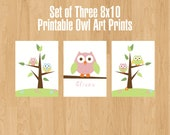 Set of Three 8x10 Printable Owl Art Prints