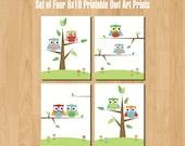 Set of Four 8x10 Printable Owl Art Prints