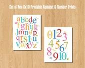 Set of Two Printable 8x10 Alphabet & Number Prints