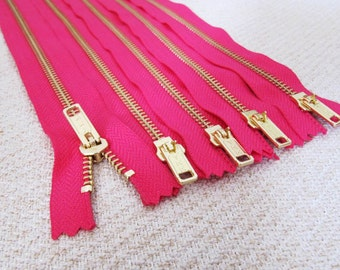 10inch - Fuchsia Pink Metal Zipper - Gold Teeth - 5pcs