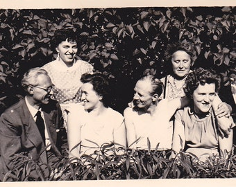 Vintage Photo - Group in the Garden - Vintage Photograph, Vernacular, Found Photo (P)