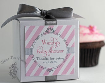 Pretty in Pink and Grey...One Dozen Personalized Cupcake Mix Baby Shower Favors