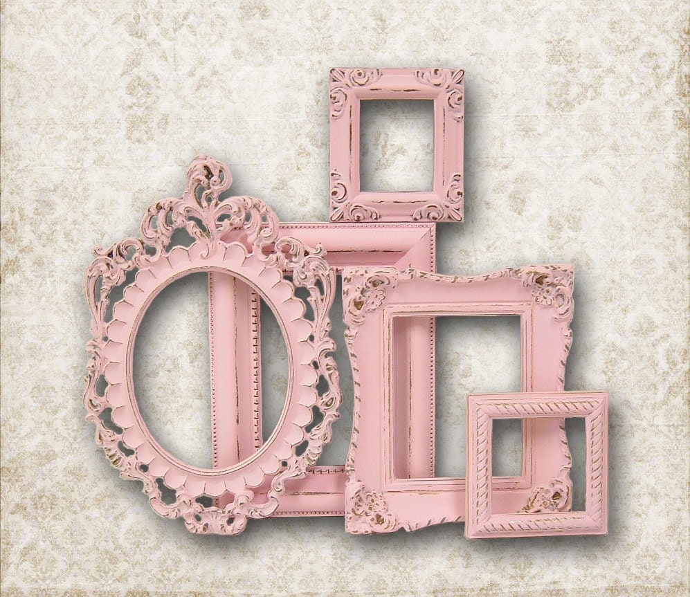 reserved for m shabby chic picture frame pastel pink picture. Black Bedroom Furniture Sets. Home Design Ideas
