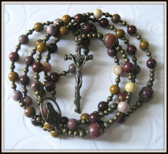 Catholic Rosary for Men in Bronze & Mookaite Jasper Gemstone