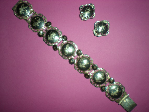 Siam Sterling and Nielloware Bracelet and Earrings