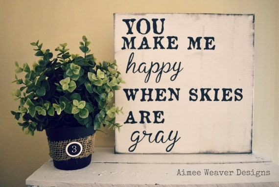 """Handpainted """"You Make Me Happy"""" Canvas Sign 12X12 (customized colors)"""