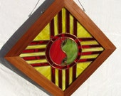 New Mexico Zia Window Panel With Chile Yin Yang Center