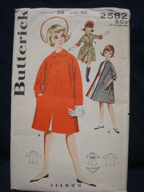 Uncut Girl's Raglan Sleeve Coat Circa 1960s Size 10