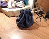 Drawstring Coin Purse(Royal Blue Leather)