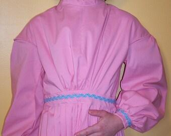 """Girl's Civil War Dress Pink with Blue Trim Size 6-8 / Waist 23"""""""