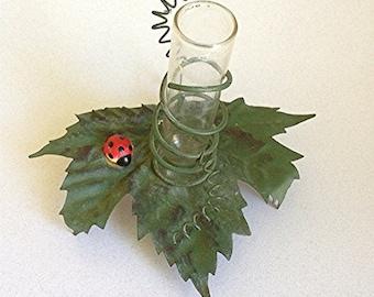 "FAIRYLAND -- Tiny ""Grape Leaf"" Flower Vase, with Sweet Little Lady Bug!"